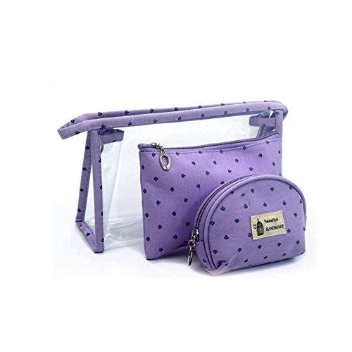Wind Ziel transparent Dreiteilige Set Aufbewahrungsbox Staubbeutel Wasserdicht PVC Kosmetiktasche violett - Ziel Kulturbeutel