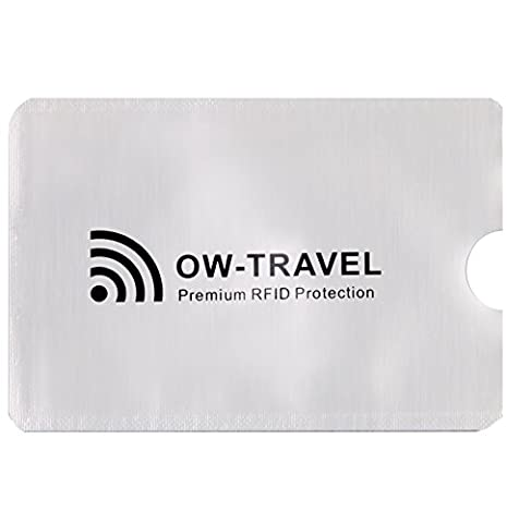 ✅ SureSECURE RFID & NFC Blocking Credit Card Protector Sleeves for Wallets Purses Phone Cases -Top Rated Identity Theft Protection -Stay Protected with Flight Accessories by OW-Travel (Silver Sleeve Shield Holder