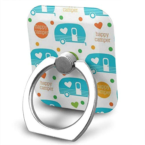 beautiful& Camping Happy Camper Spring Colors Cell Phone Ring Holder, Finger Grip Stand Holder,360 Degrees Rotation,Compatible with iPhone,Samsung,Phone Case,etc Flash Bracket Grip