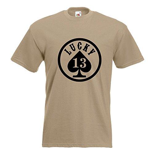 KIWISTAR - Lucky 13 T-Shirt in 15 verschiedenen Farben - Herren Funshirt bedruckt Design Sprüche Spruch Motive Oberteil Baumwolle Print Größe S M L XL XXL Khaki
