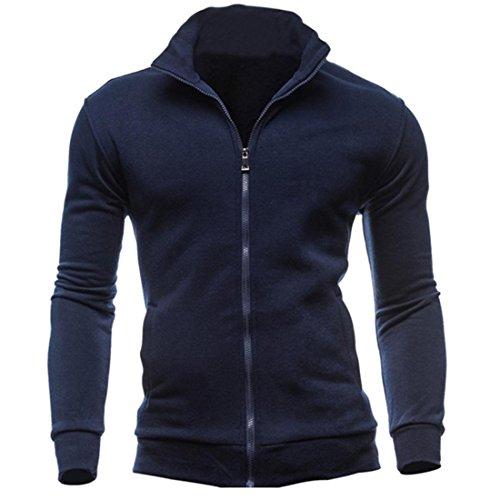 Herren Mantel Btruely Herbst Winter Sport Strickjacke Sweatshirts Slim Männer Zipper Pullover Casual Warm Mode Outwear Jacket (M, Marine) (Marine Mischung Wolle)