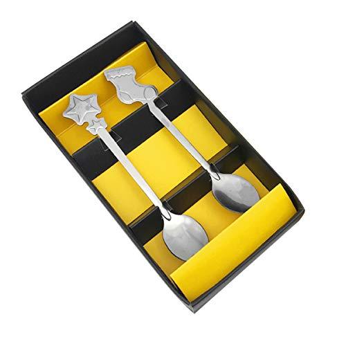 Xigeapg 2 Stücke Weihnachten Edelstahl L?ffel Mode Cartoon Kaffeel?ffel Leben Haus Küche Utensilien Und Haushaltsger?te (Zuf?lliger Stil)