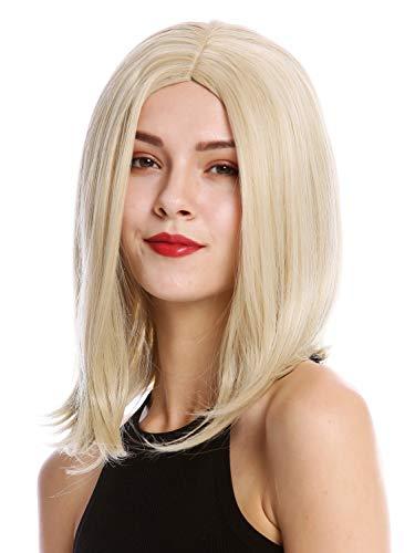 -24B/613B Perücke Damenperücke Longbob kurz glatt seitlicher Mittelscheitel Hellblond Blond Mix ()