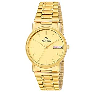 Aurex Analouge Gold Day & Date Dial 18 K Gold Plated Watch Water Resistant Golden Color Strap Wrist Watches for Mens/Boys (AX-GR156-GLG)