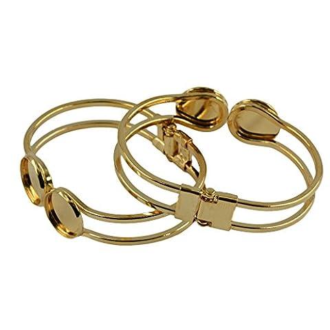 MagiDeal 2pcs Bracelets à Double Cabochons Dome Rond Bricolage DIY - or