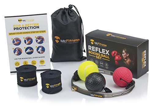 Boxball Box punching ball, Reflex ball mit Boxwickeln, Boxkopfschutz, MMA Ausrüstung und box equipmentfür das Training. Für Männer, Frauen und Kinder, alle Altersgruppen (Boxing Equipment Kinder)