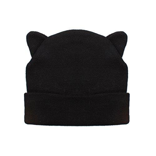 Señoras negro gorro con Cool diseño de orejas de gato