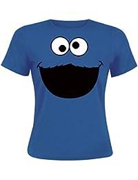 Barrio Sesamo Monstruo de las galletas Camiseta Mujer Azulón