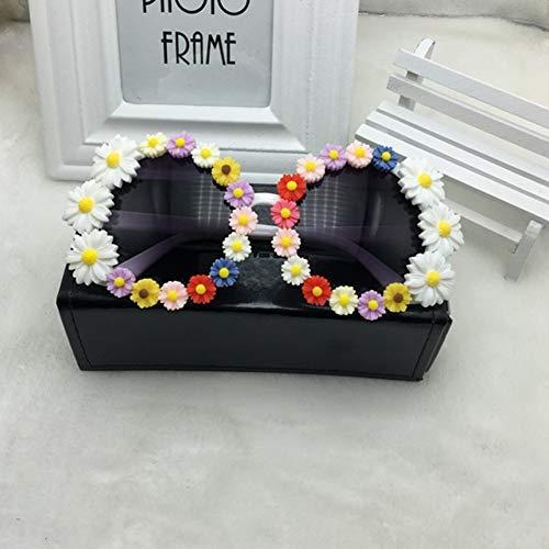 LLISA Handmand Strass Sonnenbrille Mode Brille Frauen Blume mit Perle runde Vitnage Sonnenbrille Beach Party,14