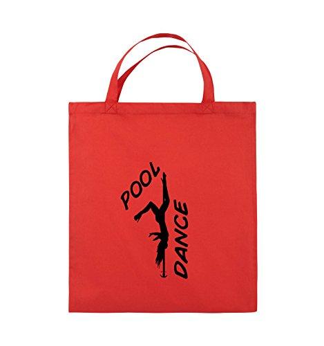 Comedy Bags - POOL DANCE - FIGUR - Jutebeutel - kurze Henkel - 38x42cm - Farbe: Schwarz / Pink Rot / Schwarz