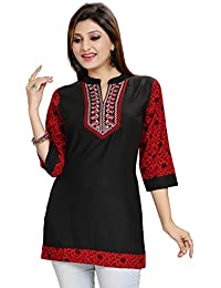Color Petal Beautiful Black - Maroon Colour Rayon Cotton Casual Short Kurta For Women