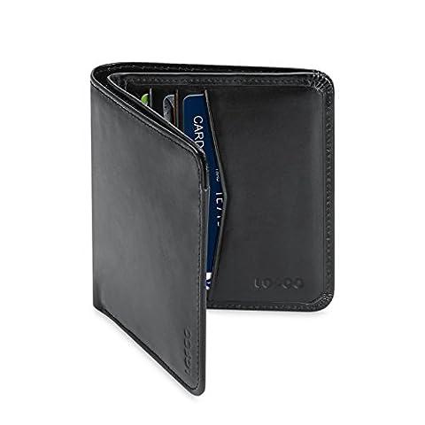 Echt Leder Geldbörse ,LOPOO Kreditkartenetui Handgefertigt Rindbox Leder Portemonnaie Geldbeutel Kreditkartentaschen für Herren (Schönes Portemonnaie)