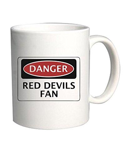 Cotton Island – Mug 11oz WC0303 DANGER MANCHESTER UNITED, RED DEVILS FAN, FOOTBALL FUNNY FAKE SAFETY SIGN, Size 11oz