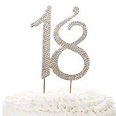 Idea Regalo - 15topper per torta oro | Premium scintillante cristallo STRASS | 15TH idee decorazione per festa di compleanno o anniversario | qualità lega di metallo | Perfect Keepsake 18