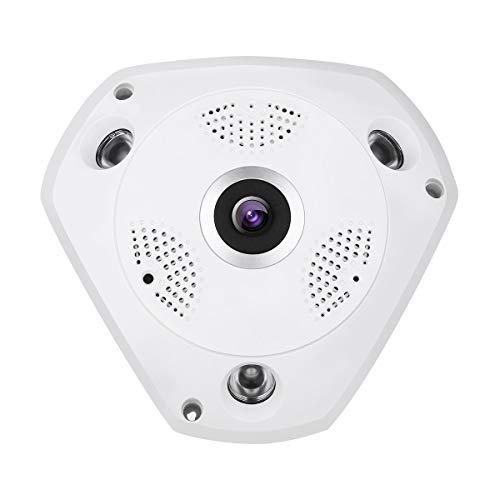 Dericam Panorama WiFi Kamera,1536P Fischaugenobjektiv WiFi IP Kamera 360 ° Panorama überwachungskamera,Nachtsicht bis zu 20 Metern,externer TF Kartensteckplatz Bis zu 64 GB,F3 Weiß (Web-browsern)