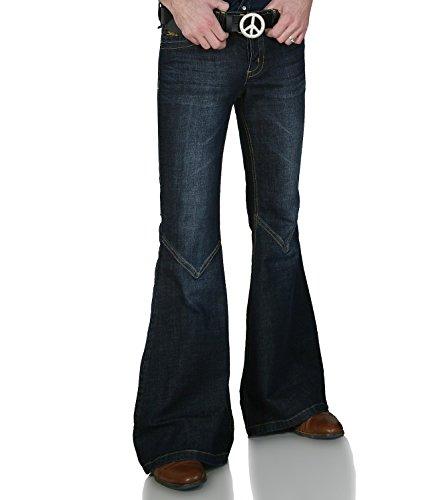 Dunkelblaue 70er Retro Jeans Schlaghose Star Cooper Dunkelblau