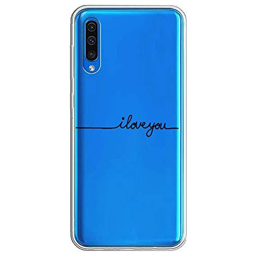 Kompatibel Mit Samsung Galaxy A30, Hülle Durchsichtig Soft TPU Silikon Ultradünn Handyhülle Case Crystal Clear Damen Schutzhülle Anti-Fall Hülle (Samsung Galaxy A50, TPU Iloveyou) -