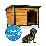zooprinz wetterfeste Hundehütte Rex - aus massivem Holz und Dach zum Öffnen - perfekt für draußen - mit umweltfreundlicher Farbe gestrichen - 3 Größen zur Wahl