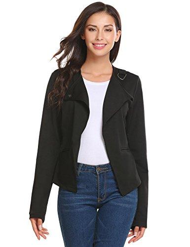 Damenjacke Elegant Mode Kurz Kragenlos kurzblazer Kurzjacke Bolero Jacke Schwarz2 XL