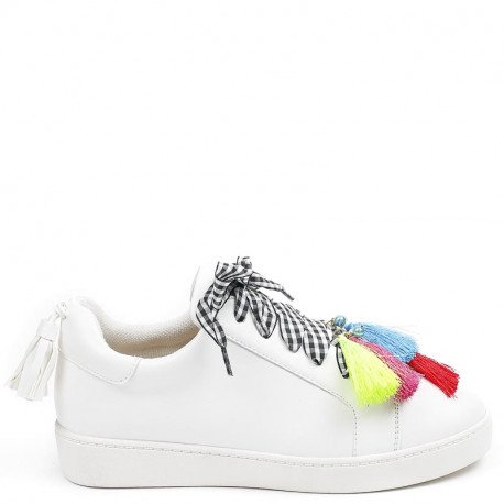 Ideal Shoes - Baskets en similicuir avec lacets fantaisie Stephania Blanc