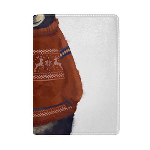 Niedliche braune Wilde Bären Aquarell Blocking Print Passinhabers Abdeckung Fall Reisegepäck Passport Wallet Kartenhalter mit Leder für Männer Frauen Kinder Familie (Wallet Braune Leder Passport)
