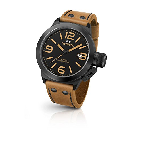 TW Steel CS42 Men's Stainless Steel Canteen Brown Leather Band Black Dial Watch