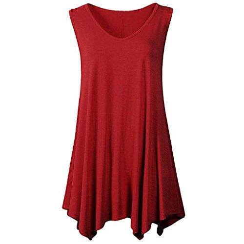 sual Bluse Ärmellos V-Ausschnitt Unregelmäßige Tank Top T-Shirt Tunika für Leggings(XX-Large,Wine) ()