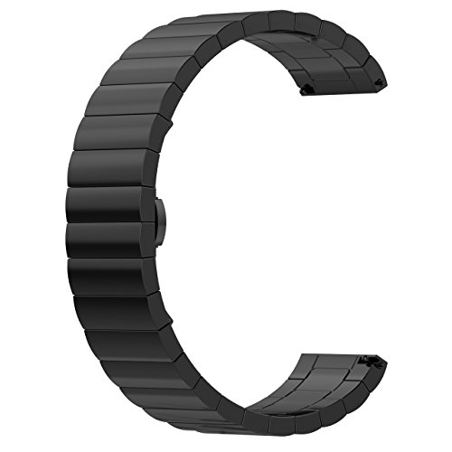 ECSEM Replacement Premium Solid Stainless Steel Watch Bands Metal Straps Bracelets - Choices of Color & Width (22mm) -1beads (Black) (Pebble Steel Metal Watch Band)