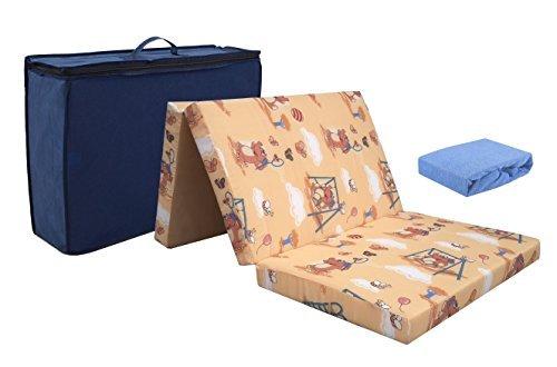 KiNDERWELT Reisebettmatratze aus hochwertigem Kaltschaum 60 x 120 cm faltbar, mit Tragetasche, 6 cm dick, klappbar + Frottee Bettlaken blau Reisebett Matratze