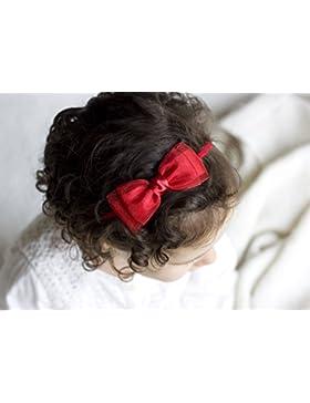 Haz de oro–Amelia satinado y Organza Bow Headband–Cinta para el pelo–para niña bebé lazo–las niñas lazo...