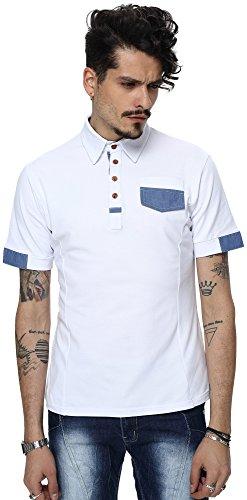 Whatlees Herren Basic kurzarm Poloshirts Hemd Shirts in verschiedene Farben B001-WHITE