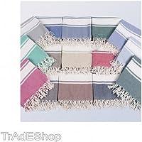 TrAdE shop Traesio TELO ASCIUGAMANO MULTIUSO PALESTRA MARE LETTINO COPRILETTINO CON FRANGE 90X170CM