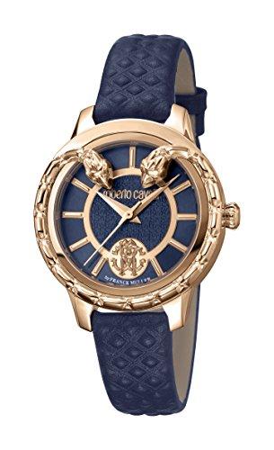 Roberto Cavalli Serpento Reloj de serpiente suizo de cuarzo azul cuero reloj RV1L050L0046