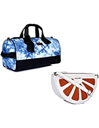 THE MAKER Combo Of Black And Blue Synthetic Leather Women Kilburn Duffle Bag With White And Orange Synthetic Leather...