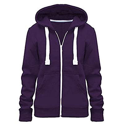 Home ware outlet Ladies Womens Plain Colour Hoodie Zip Sweater Hood Plus Size (UK 8-28)