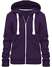 d6f305c9b3 Home ware outlet Ladies Womens Plain Colour Hoodie Zip Sweater Hood Plus  Size (UK 8