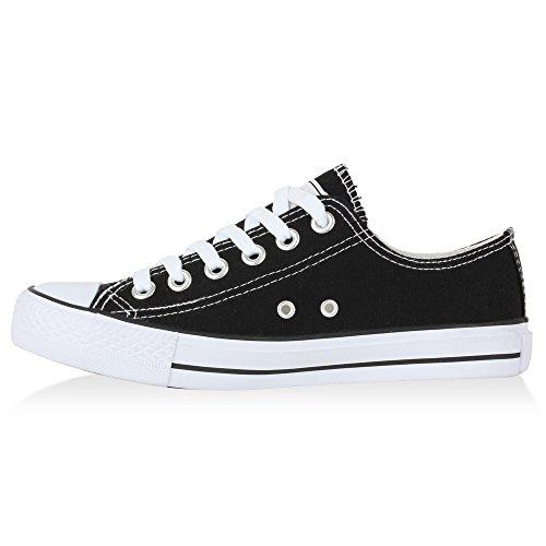 Damen Schuhe Sneakers | Turnschuhe Freizeitschuhe | Low Sneaker | Übergrößen | Prints Glitzer Denim Schwarz