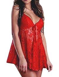 Darringls Femme Nuisette Babydoll V-orné Dentelle Bretelle Transparent avec Robe de Nuit Pyjama + String pour Femmes