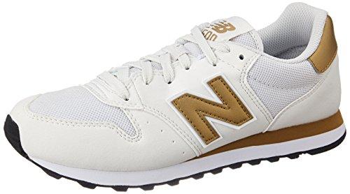 New Balance Damen 500 Sneakers, Mehrfarbig (White/Gold), 39 EU