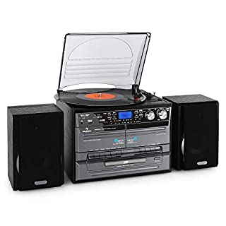 auna MG-TC-386WE Stereo Hifi System Turntable CD Player USB SD Inputs Automatic Record Playert with Multiple Playback Speeds (Double Cassette Deck with Recording Function, X-Bass Function, FM Radio)
