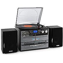 auna TC-386 minicadena con tocadiscos (sistema de audio estéreo, cassette, 2 altavoces, CD, USB, SD, MP3, función grabación, función X-Bass, acabado de madera, radio AM/FM) - negro