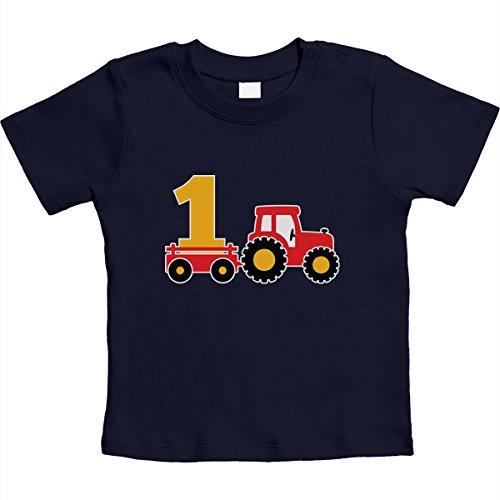 1 Jahr Geburtstag Junge Geschenk Traktor Bagger Unisex Baby T-Shirt Gr. 66-93 12-18 Monate / 86 Marineblau