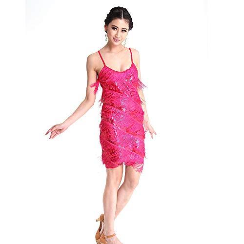 Lyrischen 2 Stück Tanz Blau Kostüm - ZONA Elegent Latin Dance Kostüm Pailletten Quaste Trainning Performance Kleid Ärmellos Blau Messing Rot Charming (Color : Red, Size : Free Size)