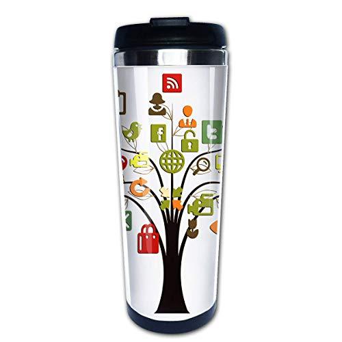 QIUJUAN 400ML Mug Stainless Steel Portable Internet Tree Travel Tumbler For Outdoors Black (Portable Keurig)