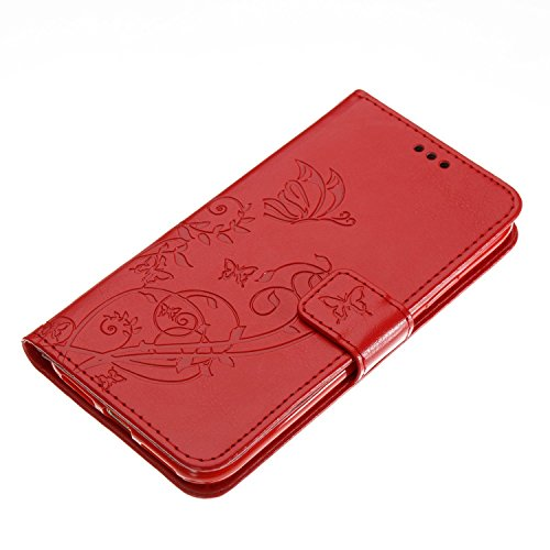 EUWLY Protettiva Case Cover per iPhone X Custodia Portafoglio in PU Pelle Cover Elegant Premium PU Leather Wallet Cover Goffratura Farfalla e Fiore Rosa Design Pelle Custodia Case Chiusura Magnetica P Rosso