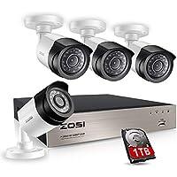 ZOSI 4CH 1080P Full HD DVR Video Überwachungssystem 4 Außen 1080P Überwachungskamera Set mit 1TB Festplatte, HDMI VGA Output, 20M IR Nachtsicht