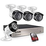 ZOSI 8CH 1080p 1TB HD Enregistreur Vidéo Surveillance avec 4pcs Caméras de Surveillance 2000TVL Code QR pour Accès à Distance Via Smartphone en 3G / 4G / WiFi