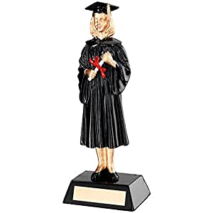 235mm female graduation figure trophy,FREE nameplate engraving upto 60 characters RF39B(td)