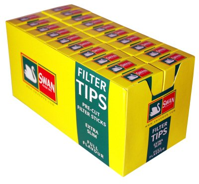 swan Swan Extra Slim Filter Tips Full Box 20 Packs Of 120 = 2400 Tips by NA