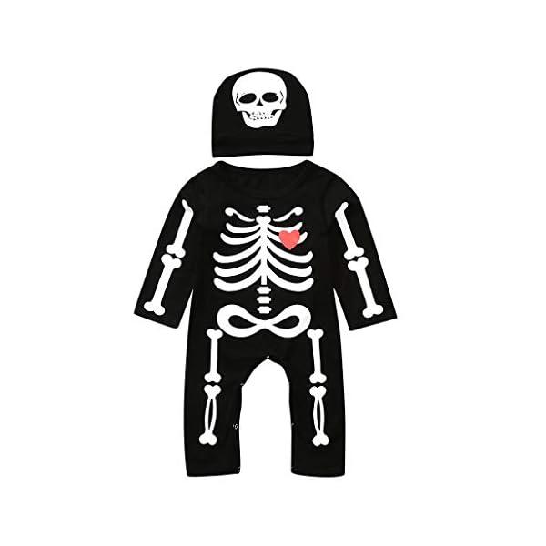 Shenye - Conjunto de Ropa para niños de 0 a 24 Meses, para recién Nacidos, niños y niñas, con Estampado de Hueso de Halloween, Mono y Sombrero, Conjunto de Trajes 4